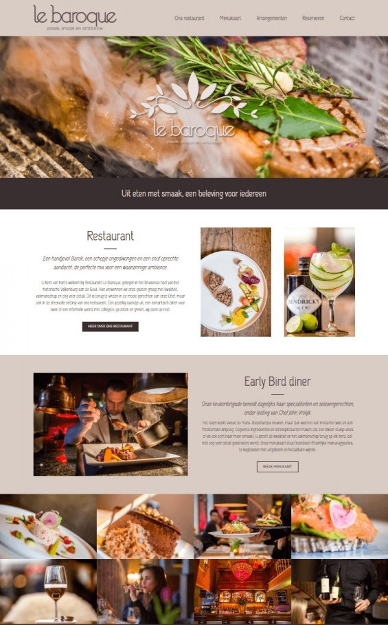 lebaroque restaurant valkenburg website webdesign